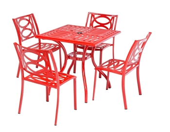 """Alfresco Lasso Café Set with 31.5"""" Sqaure Café Table with Umbrella Hole and 4 Stackable Café Chairs in Candy Red Finish"""