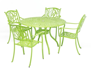 """Alfresco Madina Café Set With 48"""" Round Café Table With Umbrella Hole And 4 Stackable Café Chairs In Gecko Green Finish"""