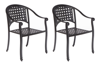 Alfresco Set Of 2 Milano Stackable Café Chairs In London Black
