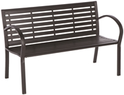 Alfresco Wicklow Garden Bench with Powder Coated Frame and Resin Seat and Back Black Frame and Slats