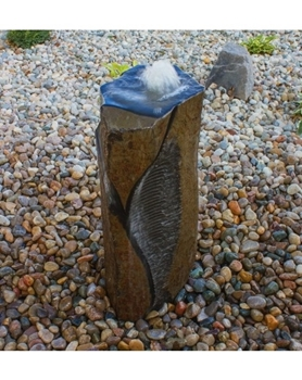"AquaBella Horizontal Cut Polished Basalt Fountain KitSwirl Cut Polished Basalt Fountain Kit- 36""h"