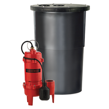 Red Lion Sewage Basin System With Cast Iron Sewage Pump