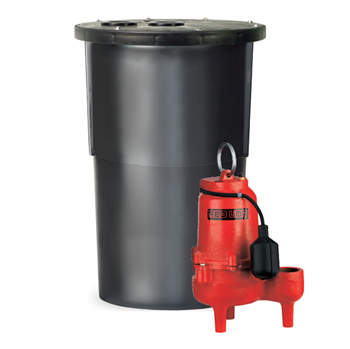 Red Lion Sewage Basin System With Premium Cast Iron Sewage Pump